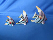 Set of 3 Vintage Miniature Bone China Angel Fish Family Figurines Made In Japan