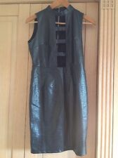 GREAT PRETTY LITTLE THING.COM BLACK LEATHER LOOK DRESS UK SIZE 8 NWOT
