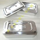 """STAINLESS STEEL INSTRUMENT TRAY WITH LID MEDICAL DENTAL TATTOO 9 1/2"""""""