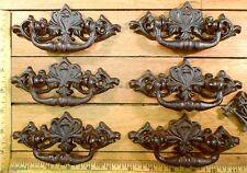 set of 6 Ornate HANDLES PULLS 5-1/4X2-1/8 Cast Iron Drawer Chest vintage style