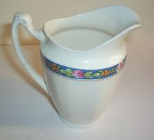 PORCELAIN JUG THIN BLUE LINE WITH FLOWERS AND LEAVES ALFRED MEAKIN ENGLAND
