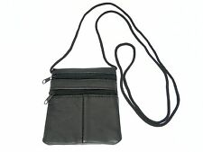 Small Soft Patchwork Leather Neck Purse Pouch ID Mobile Phone Holder - BLACK