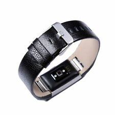 BLACK LEATHER Wristband Band Bracelet Strap Replacement For FITBIT CHARGE 2 USA