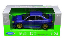 Welly 1/24 Scale Subaru Impreza WRX STi Blue Diecast Car Model 22487