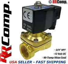 3/4 NPT 12-VOLT DC, N/C Brass Solenoid Valve, VITON Seal: Air, Water, Oil, Vac.