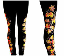Black Plus One Size 3X & 4X Leggings Embellished Rhinestone Autumn Leaves Design