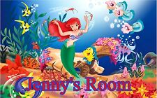 Little Mermaid & Personalized Name Repositionable Color Wall Sticker Wall Mural