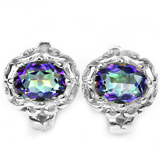 Silver 925 Oval Cut Faceted Blue Purple Fire Genuine Mystic Topaz Stud Earrings