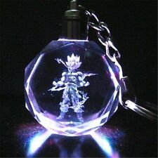 Anime Dragon Ball Z Super Saiyajin Son Goku LED Light Crystal Pendant Key Chain