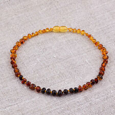 Natural Baltic Amber Baby Necklace with Rounded beads - Rainbow Style