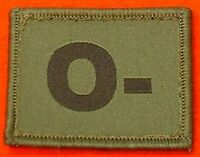 O- Blood Group Patch Velcro Backed O- Olive Badge