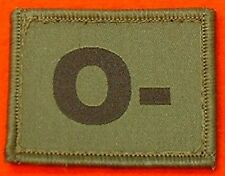 O- Blood Group Patch Hook & Loop Backed O- Olive Badge