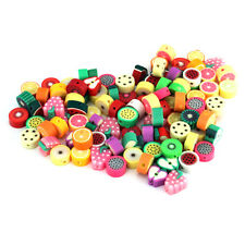 DIY 100PCS MIXED LOTS FIMO POLYMER CLAY FRUIT BEADS CHARMS FIT NECKLACE BRACELET