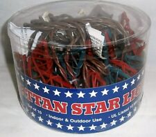 PATRIOTIC RATTAN  STAR LIGHTS 10ct  Indoor & Outdoor Use  Red,White and Blue
