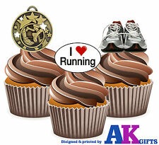 12 X Running Trainers Medal Runners Mix EDIBLE CAKE TOPPERS WAFER STAND UPS