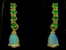 E038 - Genuine 9ct Solid Gold NATURAL Emerald & Opal DROP Stud Earrings