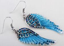 Angel wings dangle earrings women biker bling jewery gift silver blue QEC23