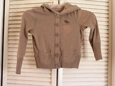 Abercrombie & Fitch Brown Hoodie Button Front Knit Logo Jacket Women's Size S