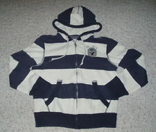 Men's Boy's AMERICAN EAGLE Warm Striped Zip Up Hoodie Jacket~Cream / Blue~Size M