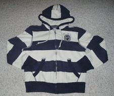 Men's Boy's AMERICAN EAGLE Warm Striped Zip Up Hoodie Jacket~Cream / Blue~Size M