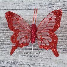 12 Sheer Fabric Glitter Organza Butterflies Florist Wire Cakes Crafts 7 / 8cm
