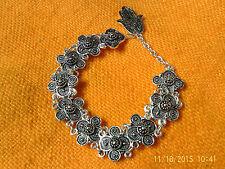 Moroccan Berber Ethnic Jewelry: Bracelet Silver coloured coils Hamza Drop NEW