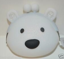 BATH BODY WORKS WHITE POLAR BEAR LIP GLOSS HOLDER MAKEUP BAG COSMETIC COIN PURSE