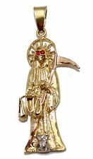 Santa Muerte-Holy Death-Grim Reaper 18K Gold Plated 2 Tone Pendant with 22 Chain