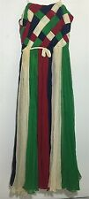 VTG Designer Woven Chiffon Striped Runway Draq Prom Queen Couture Ball Gown