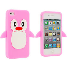Pink Cute Penguin Silicone Rubber Skin Case Cover for iPhone 4 4S 4G