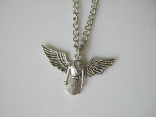 SUPERNATURAL CHARM NECKLACE SAM DEAN JENSEN ACKLES CASTIEL ANGEL WINGS GUARDIAN