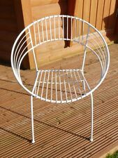 white FUNKY Vintage RETRO Metal Repro Atomic 1960s GARDEN CHAIRS Stackable