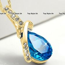Gold & Blue Topaz Crystal Diamond Necklace Present Gifts for Her Women Mum GF B2
