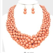 Acrylic Nude Peach Brown Pearl Multi Layered Stand Bead Necklace Earring Set