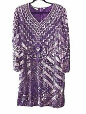 SCALA VINTAGE 80's 100% Purple Silk Pink Beaded Sequined Dress Size 2X