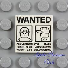 LEGO 2x2 White Police Agents WANTED POSTER Flat Printed Tile w/Lego Minifig Head