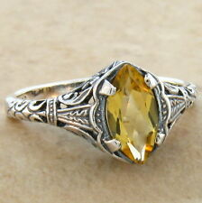 GENUINE CITRINE ANTIQUE FILIGREE DESIGN 925 STERLING SILVER RING SIZE 10, #694