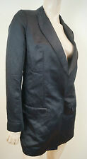 PINKO Women's Black Sheen Plunge V Neck Formal Evening Blazer Jacket UK10 IT42