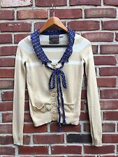 ANTHROPOLOGIE Guinevere Pattern Ponder Cardigan Beige Navy Polka Dot XS X Small*