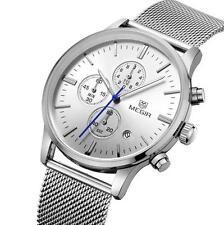 MEGIR men's quartz-watch stainless steel mesh band watch Chronograph 3 colors