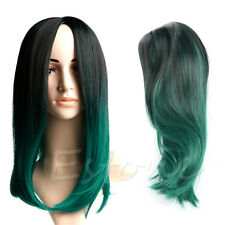 Fashion Women Short Straight Lace Front Wig Synthetic Hair Black And Dark Green