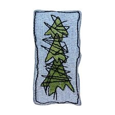 ID 8173A Abstract Evergreen Tree Art Badge Embroidered Iron On Applique Patch