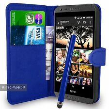 Blue Wallet Case PU Leather Book Cover For  HTC DESIRE 620 620G Mobile