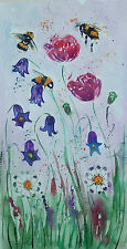"""Bumble bee & Flowers  Original watercolour painting  Size 18"""" x 9.5"""" By Casimira"""