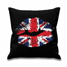 "Union Jack Lips 18"" x 18"" Filled Sofa Throw Cushion"