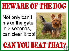 Funny RETRO METAL PLAQUE :BEWARE OF THE DOG Yorkshire Terrier sign/ad