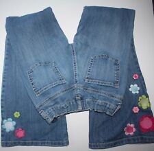 Gymboree Smart and Sweet Blue Jeans Boot Cut Denim Pants 10 Girls Flower EUC