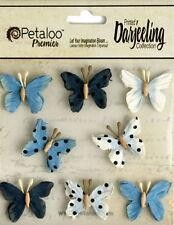 BUTTERFLY Mix BLUE Printed 8 Teastained Paper  20-25mm Darjeeling Petaloo
