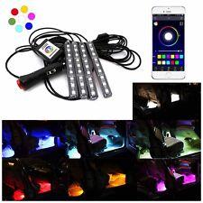 4x9LED App Music Control Car Interior Decor Atmosphere RGB Light Strip Phone USA