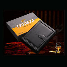 COHIBA Black Briefcase Style Leather Lined Cedarwood Travel Cigar Case Humidor